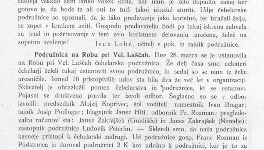 Ustanovitev podružnice Rob leta 1909